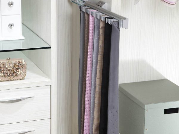 Detail of bespoke walk in wardrobe with tie rack