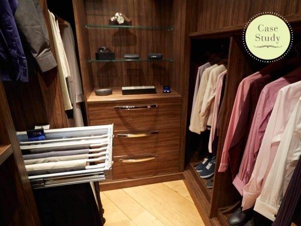 Case study showing contemporary walk in wardrobe