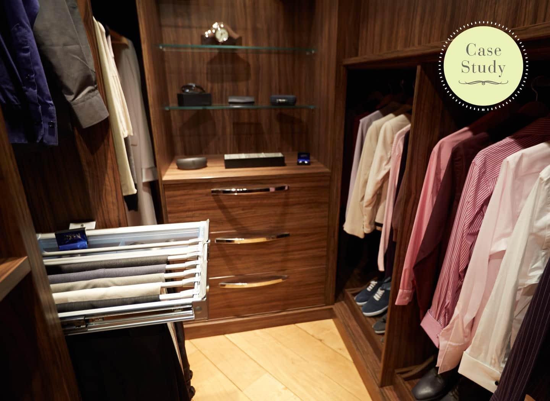 Case study showing contemporary walk in wardrobe