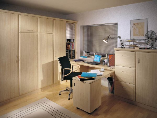 Bespoke study bedroom in Maple with folding desk