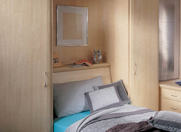 Shelving space inside wall bed unit