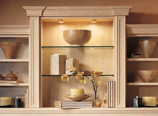 Fitted glass shelves